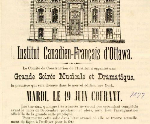 Affiche imprimée en français. On y présente un dessin de l'édifice en noir et blanc et un texte invitant les gens à assister à l'événement.