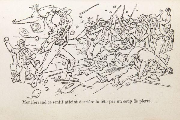 Page tirée d'un livre présentant une illustration en noir et blanc d'une émeute où des hommes brandissent des bâtons et des pierres. Au centre, un homme de haute taille balance un autre homme par-dessus sa tête. Derrière eux, un individu s'apprête à frapper l'homme très grand avec une pierre. Texte dactylographié en français.