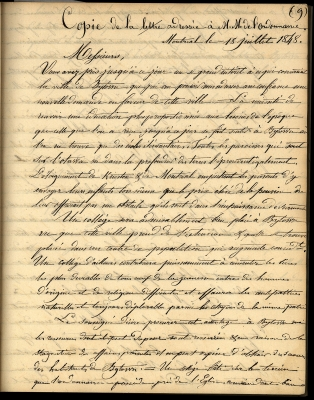 Copy of a French letter handwritten in black ink. The writing is neat, but the letter is difficult to read, because the writing on the other side is coming through. The paper is yellowed.