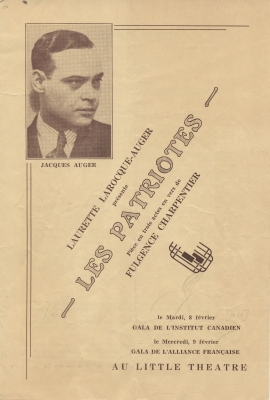 Program of a printed play, in French. On the cover, a B&W photograph of a middle-aged man in a suit and tie. Also included: the title of the play; the name of the author, director, and producer; performance location and dates. The summary of the three-act play, and cast list is featured inside.