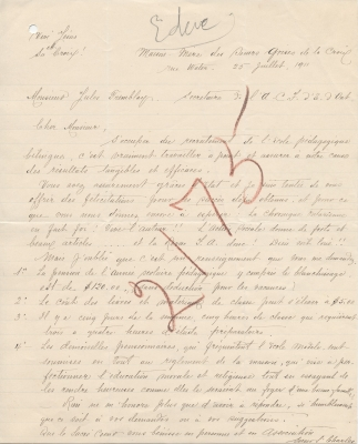 Letter handwritten in French on lined paper. An illegible word has been added above the text, along with the number 2175 written in large red letters across the text of the letter. A hole has been pierced in the upper left corner of the paper.