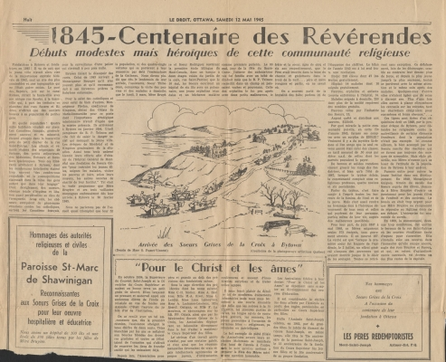 Newspaper articles printed in French. The titles and subtitless appear in bold. The articles are not signed. Each is accompanied by a drawing:  figures in buggies, travelling toward a church on a hill on the first article; a complex of religious buildings; and a black and white photograph of a middle-aged nun.