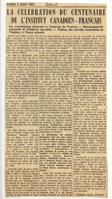 Printed newspaper article. The title appears in uppercase and bold. Sections of the text, arranged in three columns, appear in bold. The article is signed.
