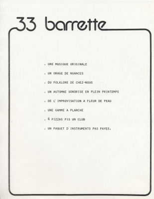 Two-page document printed in French. The name of the group is featured in large, stylized letters at the top of the page, with a solid border flowing from the name all around the page. The first page lists song titles. The second page lists other important information about the group.