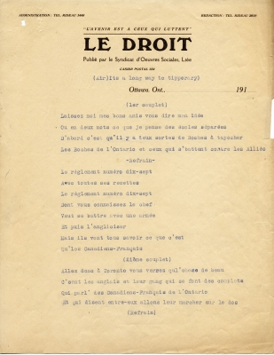Text typewritten in French on Le Droit newspaper letterhead. The lyrics are written in blue ink, with the rest of the text in black ink.