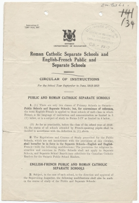 Text printed in English. The first page bears the Coat of Arms of Ontario and the purpose of the circular. The stamp of the Centre de recherche en civilisation canadienne-française has been added, along with a handwritten number. The text, printed in a single column, is divided into several articles and sub-articles, numbered and separated into sections. Font size and bolding are used to emphasize some parts of the text.