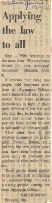 Courrier du lecteur rédigé en anglais, disposé sur une colonne. Le titre apparaît en gras. La source et la date de l'article sont écrites à la main, à l'encre bleue, au-dessus du titre.