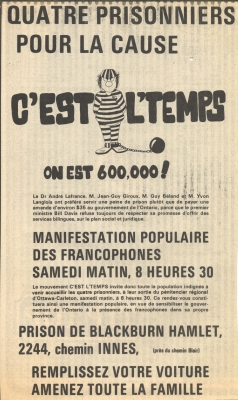 Poster printed in French. The poster title and logo of the C'est l'temps movement – the caricature of a prisoner in a striped uniform, with shackles on one foot – takes up the top third of the poster. The text below includes short informative passages such as information about the place and date of the demonstration.