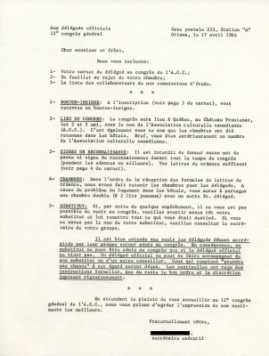Text typewritten in French. The sheet presents a numbered list of instructions with section titles underlined in uppercase. A section on substitutes and accompanying persons is entirely underlined. The letter is signed by the Executive Secretary of the A.C.C.