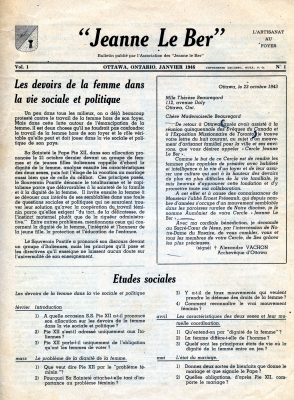 Bulletin printed in French. The title, place of publication, and other publication information appear at the top of the cover page along with a logo. Two texts come under the heading, in two columns. At the bottom of the page, a program of social studies regarding the duties of women in social and political life.
