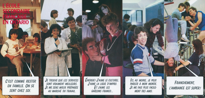 Colour promotional leaflet in French. The first photograph depicts a teenager surrounded by his family, the other four young people in a school environment. Text bubbles reproduce the teenagers' words.