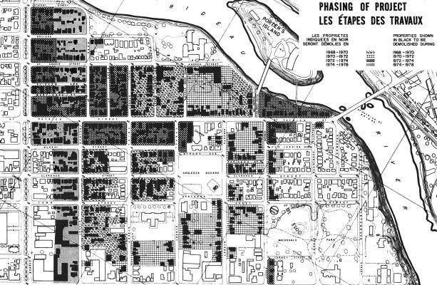 Plan en noir et plan de la Basse-Ville Est, délimitée au nord et à l'est par la rivière Rideau et au sud par la rue Rideau. Le plan indique en noir les maisons qui doivent être démolies. Des trames différentes sont utilisées pour chacune des quatre étapes des travaux, de 1968 à 1978.