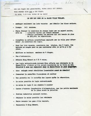 Circulaire dactylographiée intitulée « Ce que les gens de la Basse-ville veulent. », contenant 19 propositions pour le réaménagement de la Basse-ville. Une convocation pour assister à une rencontre portant sur les « plans des architectes » est attachée à la lettre.