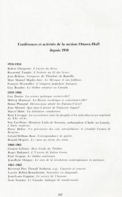 French list, organized chronologically. The names of the speakers and the titles of their presentations appear for each academic year, indicated in bold. The title of the document also appears in bold.
