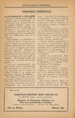 Chronique paroissiale imprimée, en français. Les titres apparaissent en lettres majuscules et en gras. Les numéros de pages figurent en haut de la page. Des publicités pour des compagnies locales apparaissent au bas de chaque page.  Le papier est jauni.