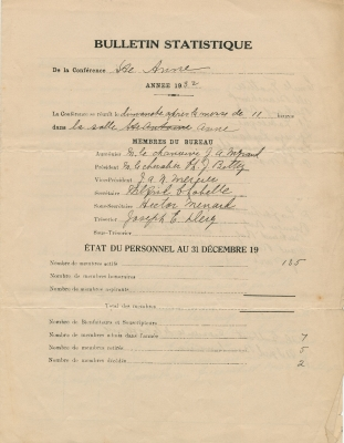 Typed form, completed by hand in French, in spaces provided for that purpose. Signed by the Secretary and the President of the Society.