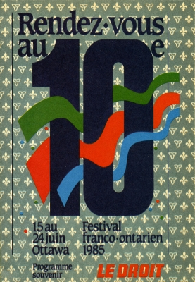 "Program printed in colour, with dark blue French text. Green, red and blue ribbons weave through a large number ten. The name and dates of the festival are included at the bottom, along with the words ""LE DROIT"" in red. In the background, a pattern of lilies and trilliums on a green background."