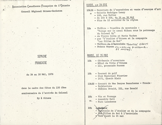 Four-page program, typewritten in French, with corrections in black ink. Each page of the document is divided into two parts. Dates are underlined. Some of the text is inserted into boxes.