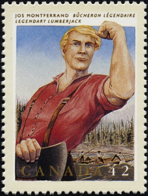 Colour photograph of a Canadian stamp valued at 42 cents, depicting a sturdy lumberjack wearing a red shirt and suspenders. He holds an axe in his hand, and he stands in front of a river, where other loggers propel rafts. Text typed in French and English.