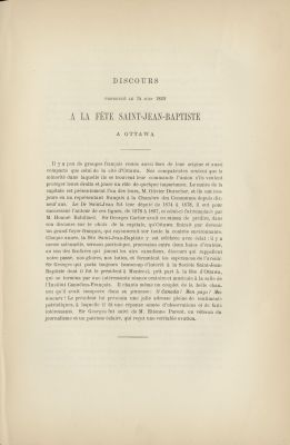 Speech printed in French. First page is dedicated to an introduction the text. The following pages present the text itself, arranged in a single column, divided into several paragraphs. The abbreviated title and date of the speech appear at the top of the document. Annotations by Benjamin Sulte, signed B.S.