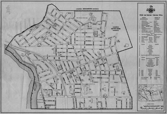 Street map of the city of Vanier, with title, legend and points of interest typewritten in English and French. An insert includes a list of points of interest, a map locating the city within the regional context, and a scale in feet and metres.