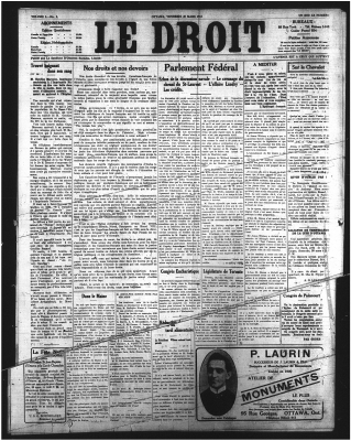 Front page of the Le Droit newspaper. The name of the newspaper appears at the centre top of the page, in large characters. Information about subscriptions and other newspaper services is available on both sides of the title. The page is laid out in five columns, reserved for different articles. The character style varies according to the article.