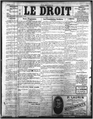 Front page of the Le Droit newspaper. The name of the newspaper appears at the centre top of the page, in large characters. Information about subscriptions and other newspaper services is available on both sides of the title. The page is laid out in five columns, reserved for different articles. The font style varies according to the article.
