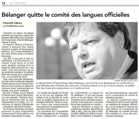 French newspaper article downloaded from the Internet. The article is arranged in four columns, under a title in bold. It is accompanied by a black and white, close-up photograph showing the face of a mature, dark-haired man with a plump face. He is speaking, with a concerned expression on his face. The article is signed.