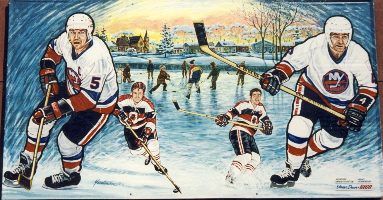 Colour photograph of a mural depicting images of hockey players. In the foreground, two adult players wearing the insignia of the New York Islanders. Behind them two young Ottawa 67s hockey players. In the background, a winter scene with children playing hockey on an ice rink near a village.