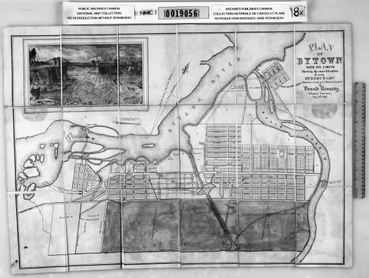 Black and white map of streets and hydrological network. The text, printed in English, includes the name of the surveyor. The map is accompanied by a black and white image of a bridge overlooking a river.