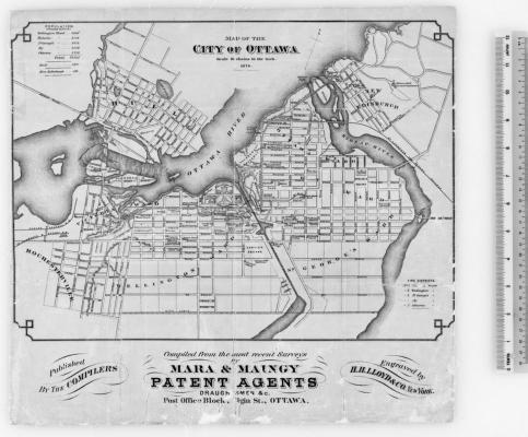 Road and river map which includes the title, legend and names of the patent agents and engraver, typed in English. The legend to the right of the map is in inches. The map includes a population count by neighborhood, as well as a list of firefighting intervention zones.