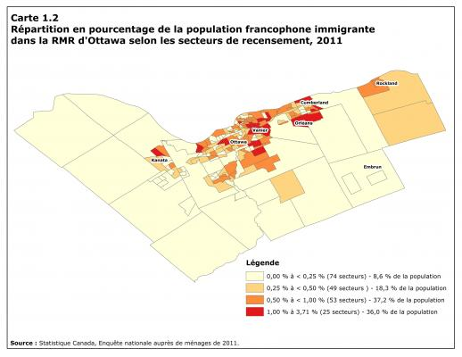 Map in four shades of red, with title, legend and source typed in French. The color varies from pale to dark depending on the size of the immigrant Francophone population. The highest percentages of Francophones, in dark red, are found around downtown (particularly at Vanier) and in the eastern and western suburbs (Orléans and Kanata).
