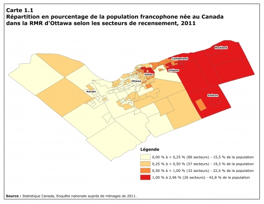 Map in four shades of red, with title, legend and source typed in French. The color varies from pale to dark depending on the size of the Canadian-born Francophone population. The highest percentages of Francophones, in dark red, are found in the east end of the greater Ottawa area (Vanier, Orléans, Rockland, Embrun).