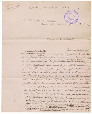 Colour photograph of a letter handwritten in French on lined paper, with corrections in black ink. It bears the seal of the Centre de recherche en civilisation canadienne-française in blue.