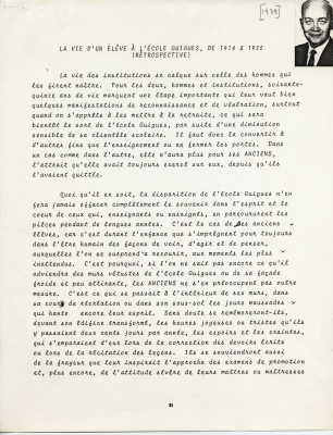 Testimony typed in French, with corrections in black ink. A small black and white photograph of the witness – a smiling, balding, middle-aged man – is set into the upper right-hand corner of page 85. The statement is signed by the witness on page 90.