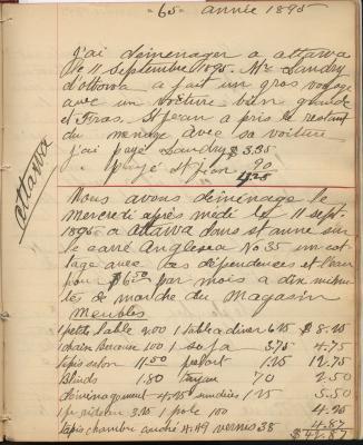 Journal manuscrit en français dans lequel l'auteur note ses dépenses et d'autres faits de sa vie quotidienne. La date est inscrite en haut de chaque page et des mots clés sont inscrits dans les marges.