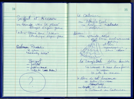 Pages d'un cahier de notes, en français. Texte écrit à la main et dessins à l'encre bleue sur papier ligné, dans un carnet bleu. Sur la page de droite, le dessin d'une robe surdimensionnée. Les pages sont numérotées.