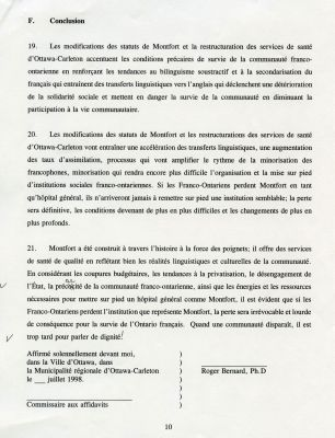 """Document printed in French, bearing the heading """"F. Conclusion"""" at the top. The text is arranged in a single column and divided into paragraphs numbered from 19 to 21. The author's name and the date appear after the text, in the last page of the document (p. 10)."""