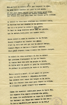 "Poem typewritten in French. The title of the poem is written by hand, in pencil, at the top of page 1. The stamp of the CRCCF appears in the lower right corner. The word ""end"" is inscribed in pencil at the bottom of the text on page 2, under the signature of the author of the poem. The paper is yellowed."