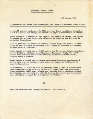 "Text typewritten in French. The press release title, origin and date appear at the top of the page. The text is printed in a single column, with ""-30-"" appearing at the bottom, along with a contact name and telephone number."