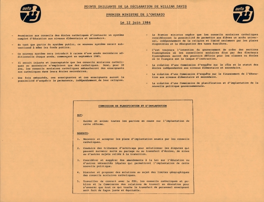 Document printed in French on orange paper. Page 1 includes two AEFO logos. The document title is typed in uppercase and underlined. Two columns of highlights follow, along with a box of text outlining the purpose and mandate of the commission. Page 2 presents a series of opinions.
