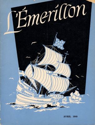 Blue and white drawing, against a large black patch on a blue background, of a large ship with a flag depicting lily flowers. The ship is sailing on the ocean, with two other ships following in the distance. The title of the journal is typed in white above the image. The date of the issue appears below the drawing.