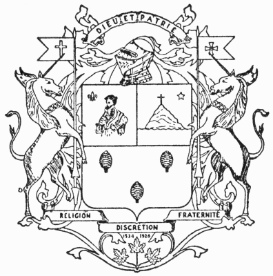 Black and white drawing of a coats of arms and a motto in Latin and French. In the centre, a shield with representations of a man on the left, a mountain topped with a cross on the right and three pine cones below. The totality is accompanied by two rearing unicorns on each side, a helmet at the top and three maple leaves at the bottom.