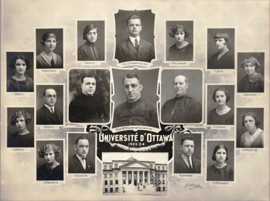 "Photograph of an arrangement of studio photographs of eleven women, four men, and two clerics, with their names. At the bottom centre, a photograph of an imposing, four-storey building with columns. A caption reads ""University of Ottawa, 1921-1924"" (translated from the original)."