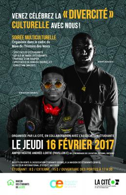 Colour poster featuring two young black men dressed casually in black. The text is typed in French.  Logos appear at the bottom of the poster. In the background, an African tribal pattern in varying shades of gray.