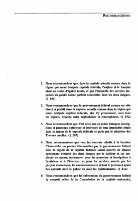 Document printed in French. Sections titles appear in bold, followed by a set of numbered recommendations. The text includes footnotes. The page numbers are positioned between dashes at the bottom centre of the page.