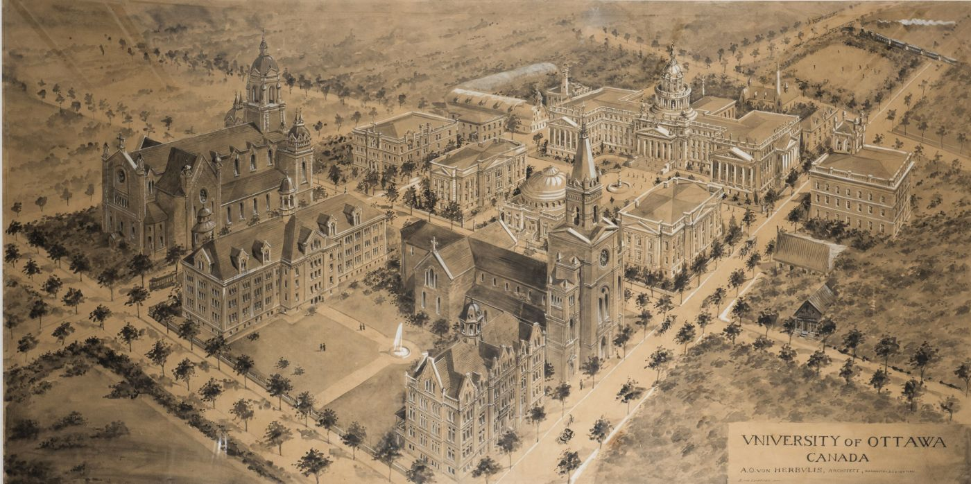 Plan of the University of Ottawa, drawn in ink on sepia paper, with text in English. The university buildings appear in three dimensions; the space around the campus is vacant.