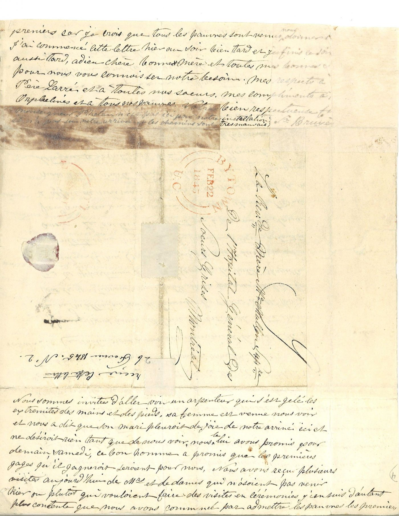 Letters handwritten in French. The document is numbered, and the stamp of the Archives of the Grey Nuns of Montreal appears on pages 1 and 3. The first letter is signed by Sister Bruyère; the second letter is not signed. Page 6 includes the envelope of the letter with the postmark and date of receipt.
