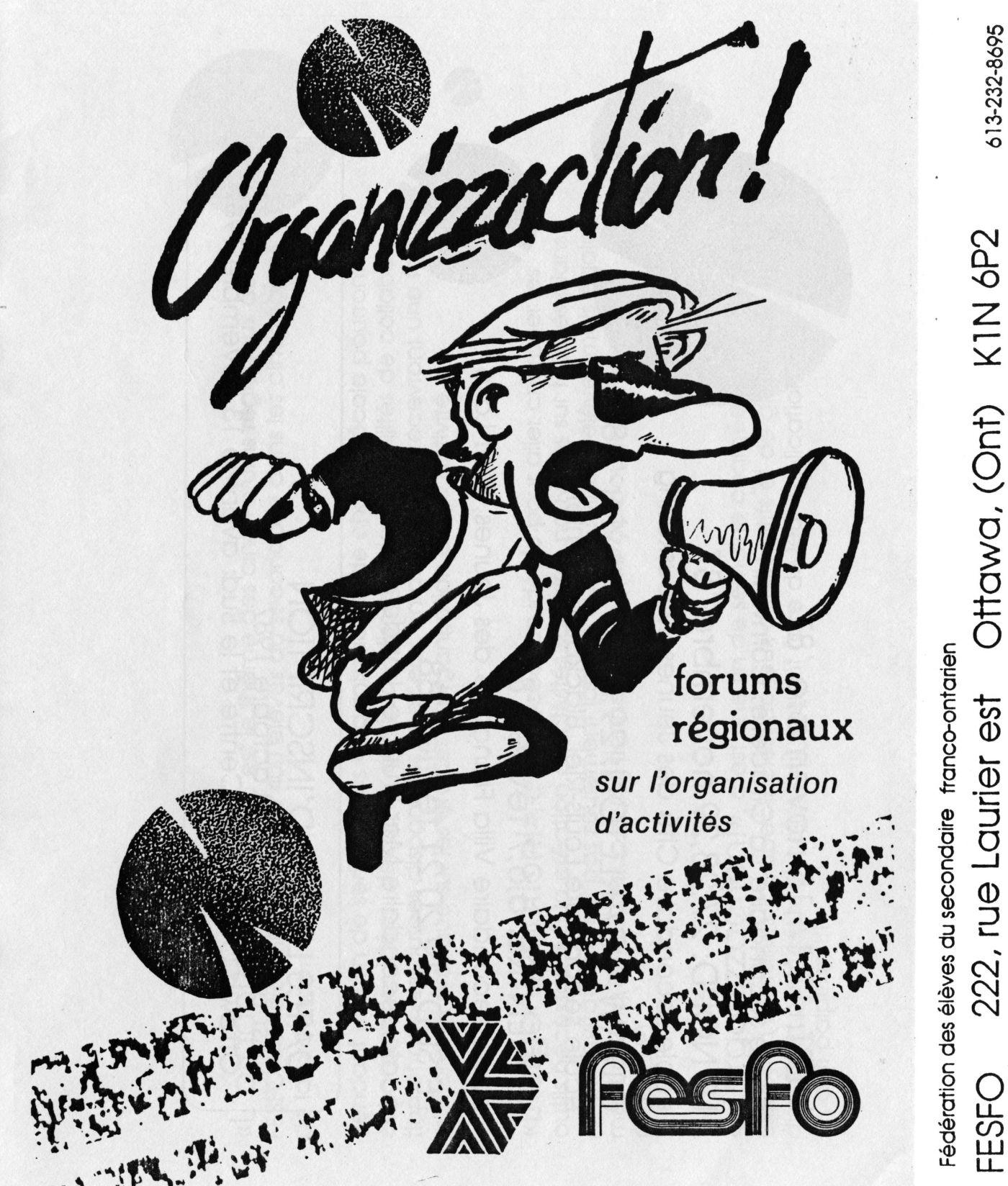 Première page d'un document en noir et blanc, en français. Une caricature d'un jeune homme survolté tenant un porte-voix, sous lequel figurent le nom de l'événement, ainsi que le logo de la FESFO. À la verticale sur le côté droit de la page, le nom, l'adresse et le numéro de téléphone de l'organisme.