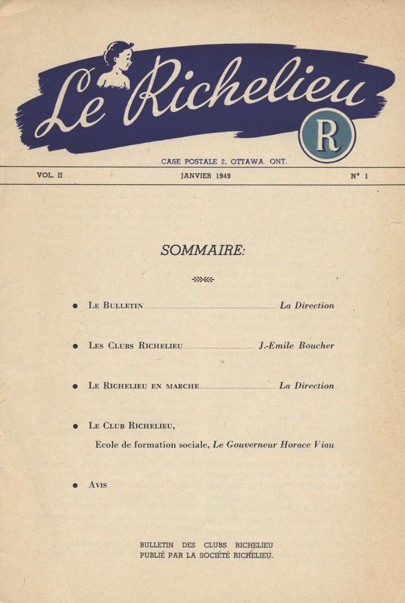 Bulletin printed in French. The title, place of publication, a logo and other details, appear on the cover page, followed by a table of contents. The text on page 10 is printed in two columns; it continues on the following page and is signed. Page 11 offers short texts regarding different communities.